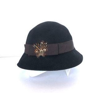 August Black Wool Cloche Hat
